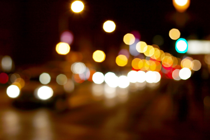 luzes noturnas borradas