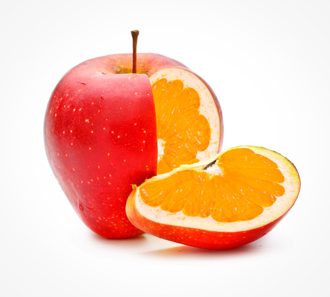maçã e laranja