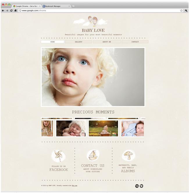 Template de Site Fotografia de Bebê
