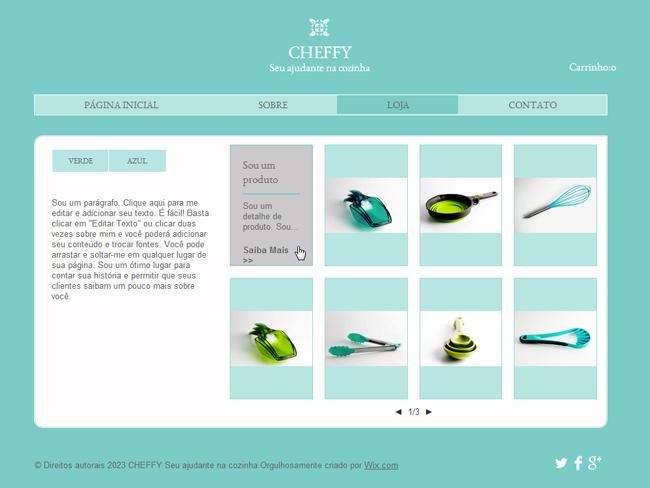Loja Online criada com o Wix