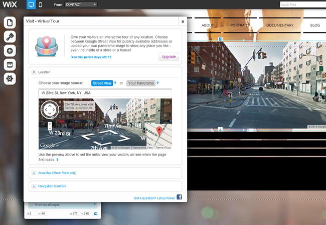 Aplicativo Virtual Tour no Wix