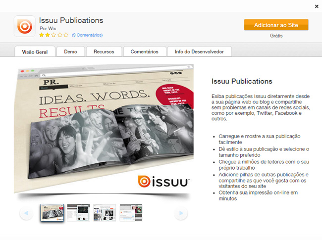 Aplicativo Issuu no Wix App Market