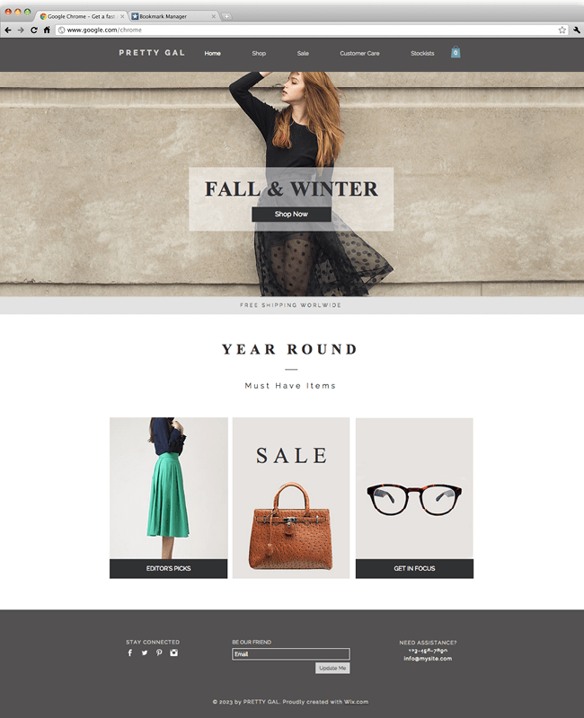 Wix - Woman's Fashion Website