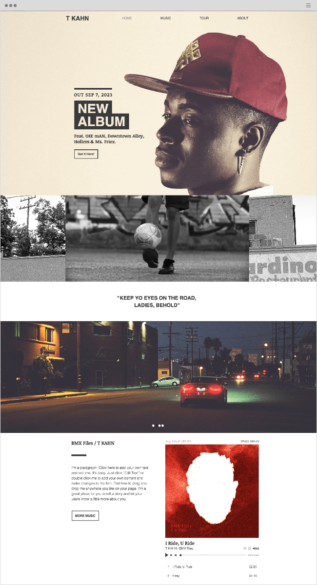 Hip Hop Artist Wix Website Template