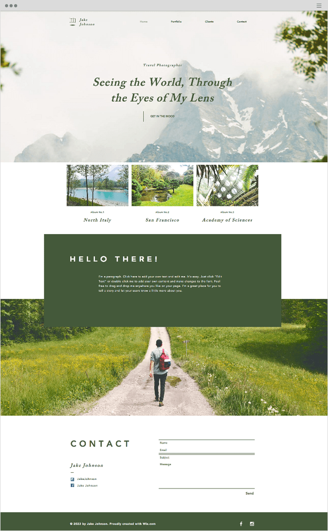 Travel Photographer Wix Website Template