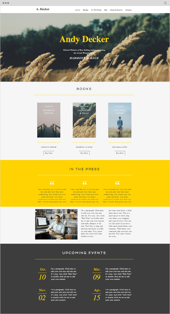 Author Wix Website Template