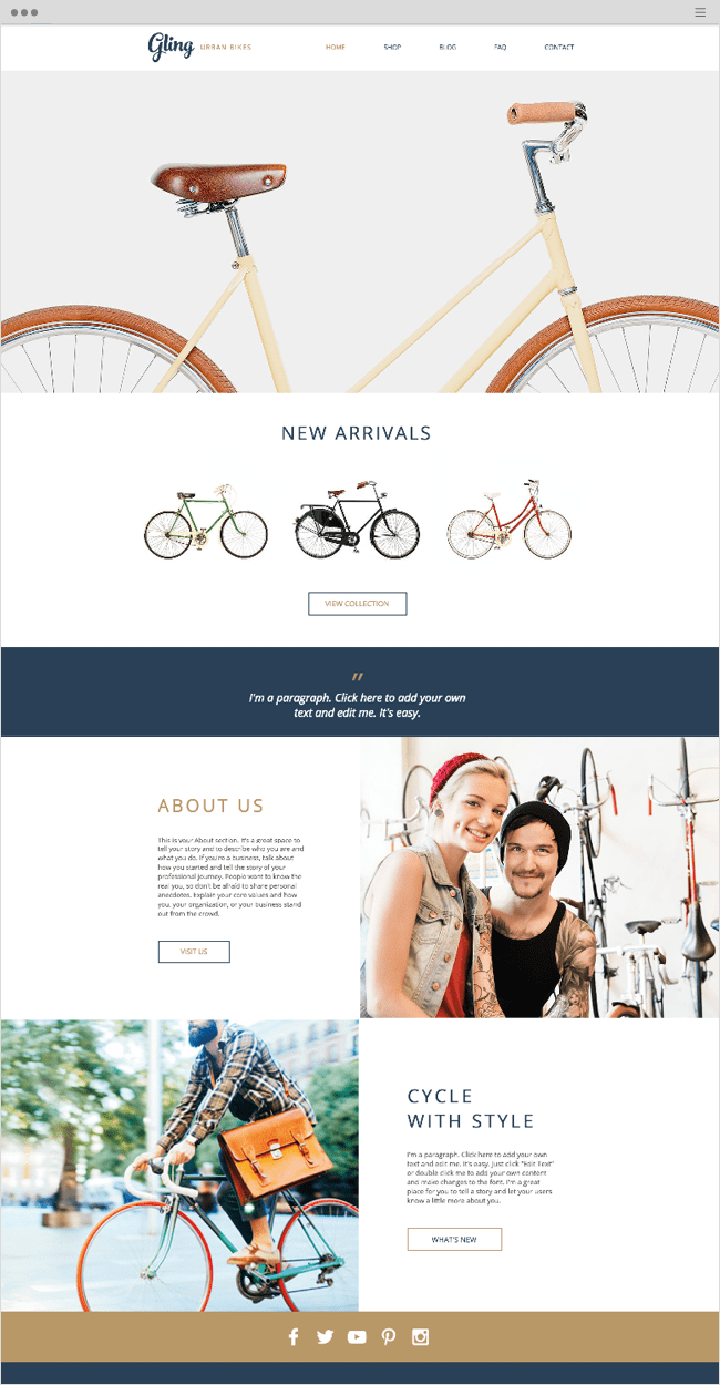 Bicycle Store Wix Website Template